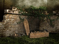 Graveyard with bones and skulls old a coffin Royalty Free Stock Photography