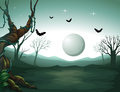 A graveyard and a moon illustration of Royalty Free Stock Photos