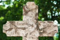 Graveyard old stone tumbstone cross on with lot of copy space on it for designers Royalty Free Stock Photography