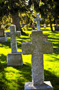 Graveyard with tombstones Stock Image