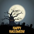 Graveyard tree and full moon for web design Stock Photo