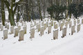 Graveyard in the winter on a snowy day Royalty Free Stock Images