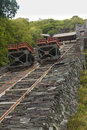 Gravity incline restored with trucks mounted on rails originally for taking slate from quarry Royalty Free Stock Photo