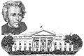 Gravure of andrew jackson and white house in the twenty dollar banknote Royalty Free Stock Photo