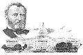 Gravure of ulysses s grant and capitol in the fifty dollar banknote Stock Images