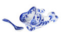 Gravy boat porcelain painted under gzhel with the traditional pattern isolated on white background Stock Photography