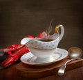 Gravy boat rich served in with ladle and christmas crackers Stock Photo