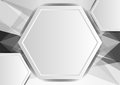 Gray abstract poly and hexagon background with copy space