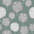 Gray abstract trees seamless background vector pattern flora r retro fabric ornament Stock Photos