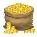 Gray bag full of gold coins. Vector illustration.