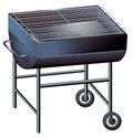 A gray barbeque grill illustration of on white background Royalty Free Stock Photo