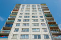 Gray block of flats building show perspective, living in town Royalty Free Stock Photo