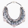 Gray blue agate necklace from gemstones on white Royalty Free Stock Photo