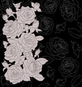 Gray bouquet of roses on black background Royalty Free Stock Image