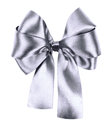 Gray bow made from silk ribbon isolated Stock Photography