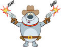 Gray bulldog cowboy cartoon character shooting with two guns mascot Stock Photography