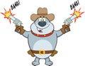Gray bulldog cowboy cartoon character skytte med två vapen Arkivbild