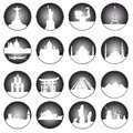 Gray buttons of famous places in the world on a white background Stock Photos
