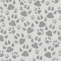 Gray cat paw prints seamless pattern background Royalty Free Stock Photo