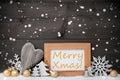 Gray christmas decoration de oro nieve feliz navidad copo de nieve Imagen de archivo libre de regalías
