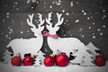 Gray Christmas Decoration, Reindeer Couple, Snowflakes, Red Ball