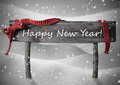 Gray Christmas Sign Happy New Year Snow, Red Ribbon, Snowflakes