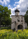 Gray church in Pskov Royalty Free Stock Images