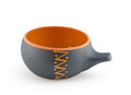 Gray clay cup on white background Stock Photos