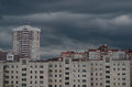 Gray clouds over the urban landscape
