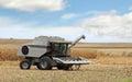 Gray combine farm in a corn field Royalty Free Stock Photo