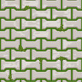Gray Concrete H shaped paving slabs surface on grass. Seamless texture