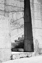 Gray concrete walls and stairs abstract industrial architecture fragment with Stock Image