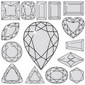 Gray diamonds collection Stock Photos
