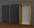 Gray door and gold door opened Royalty Free Stock Photography