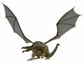 Gray dragon a creature of myth and fantasy the is a fierce flying monster with horns and large teeth Royalty Free Stock Image