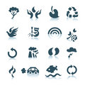 Gray ecology icons Stock Images