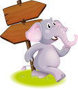 A gray elephant following the direction illustration of on white background Royalty Free Stock Images
