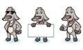 Gray Goat Mascot happy Royalty Free Stock Photo