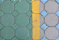 Gray and green cement block pavement Royalty Free Stock Photo