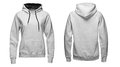 Gray hoodie, sweatshirt mockup, isolated on white background Royalty Free Stock Photo