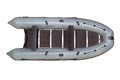 Gray inflatable boat pvc top view isolated on white in color with a deck plywood mahogany transom with pads under the engine Stock Photo