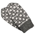 Gray mitten pair isolated, grey white textured woolen mittens pattern, knitted warm wool winter fingerless gloves detail, large