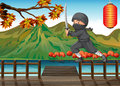 A gray ninja at the seaport illustration of Royalty Free Stock Image