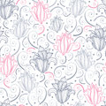 Gray and pink lily lineart seamless pattern vector background with hand drawn elements Royalty Free Stock Image