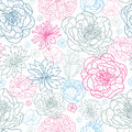 Gray and pink lineart florals seamless pattern background vector with hand drawn flowers on light Royalty Free Stock Photo