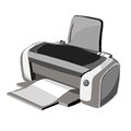 The gray printer illustration office device for printing Royalty Free Stock Images