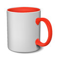 Gray and red mug realistic 3D mockup on a white background vecto