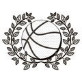 Gray scale half crown of olive branch with basketball ball Royalty Free Stock Photo