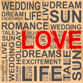 Gray scribble words and one love Royalty Free Stock Photo