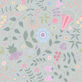 Gray seamless pattern of ornamental flowers, plants, leaves and small circles.